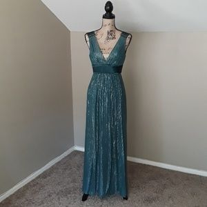 BCBGMaxAzria Teal Silk Blend Green Dress